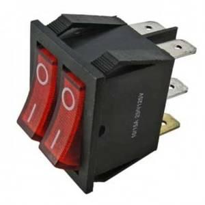 Выключатель 2 клавишный 15А ON-OFF красный с псв REXANT, 5716
