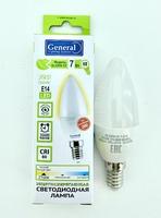 Лампа LED Е14 7W 2700 CF мат. свеча GENERAL
