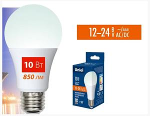 Лампа LED Е27 10W 4000 А60 12-24V Uniel, 4993
