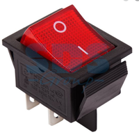 Выключатель 1 клавишный 20А ON-OFF красный с псв  REXANT